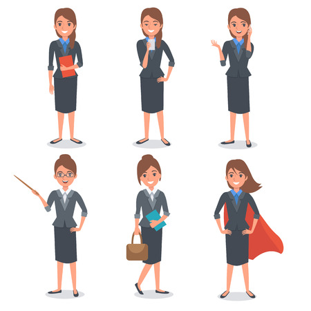 Businesswoman in different poses. Vector illustration.