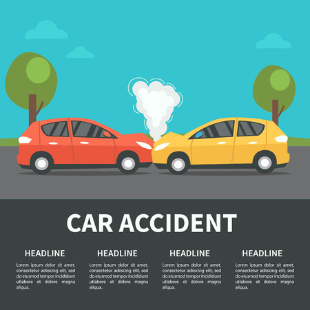 Car accident concept illustration. Vector infographic template. Vettoriali