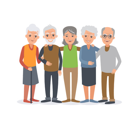 male senior adults: Group of elderly people stand together. Vector people illustration isolated on white background.