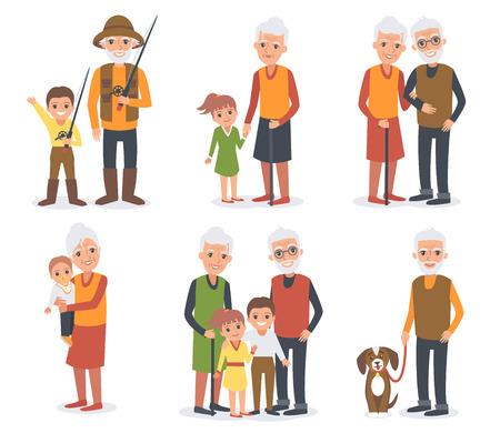 grandchildren: Elderly people in different poses standing together with grandchildren. Senior people activities. Vector people portrait.