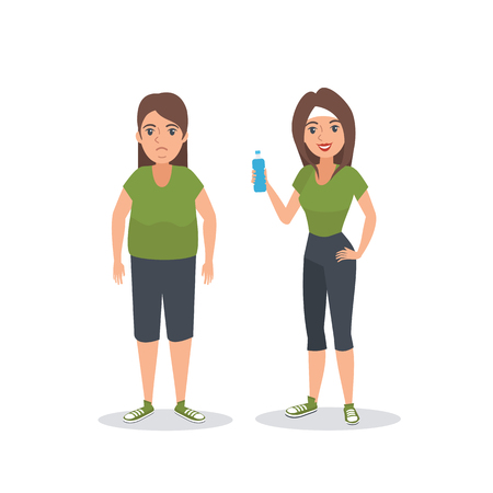 obeseness: Illustration of fat and thin fitness woman. Woman before and after Weight loss. Cartoon Vector illustration.