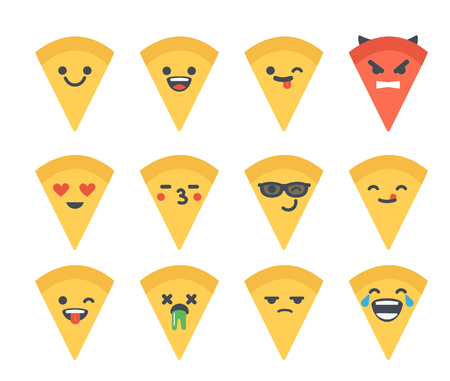 Set of vector flat pizza emoticons. Emoji icons isolated on white background. Different emotions collection.