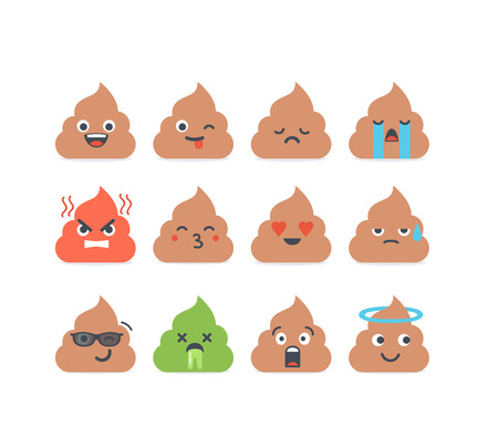 vomit: Set of vector poop emoticons, emoji isolated on white background. Cute icons.