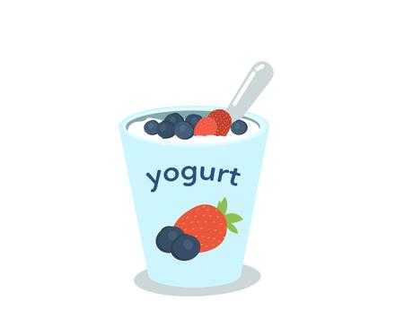 yogur: taza de yogur con bayas ilustración vectorial.