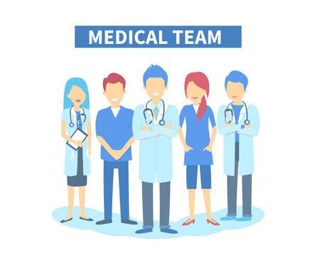 other: Team of doctors and other hospital workers stand together Illustration