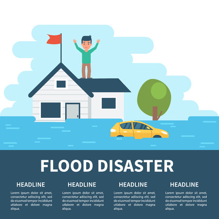 flood: Flood disaster concept illustration with infographic elements. Flood disaster infographic.