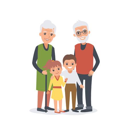 grandchildren: Family portrait of Grandparents with grandchildren Illustration