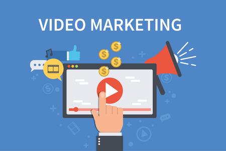 Video marketing concept banner flat illustration for web banner, infographics, hero images. Vettoriali