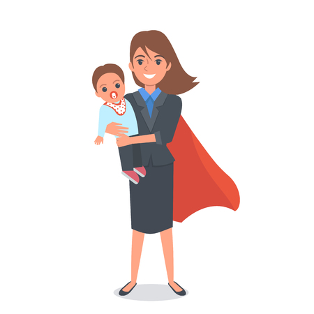 Super Mom in business costume holding baby on her hands Vettoriali
