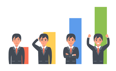 sales manager: Concept illustration about sales manager and his success. Vector business illustration. Illustration