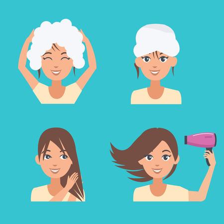 Frau kümmern sich um ihr Haar. Haarkosmetikanwendungen. Vektor-Illustration. Standard-Bild - 59246903