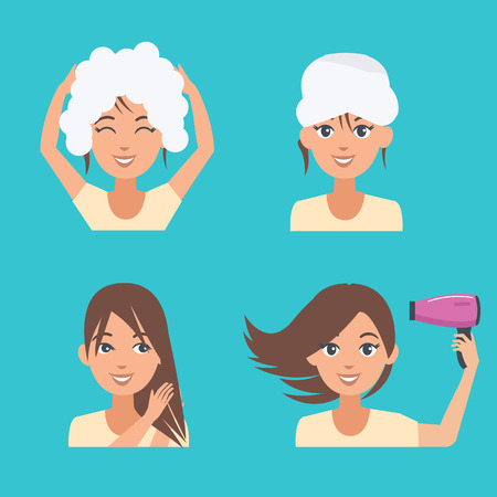 woman washing hair: Woman take care about her hair. Hair beauty procedures. Vector illustration.