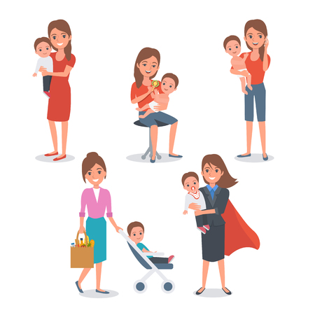 Mother with child isolated. Vector illustration.