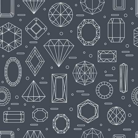 ruby: Vector seamless pattern with diferent diamonds in line style with black background. Vector illustration.