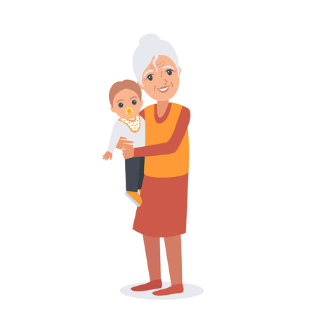 grannie: Portrait of elder woman with child. Vector illustration isolated. Illustration