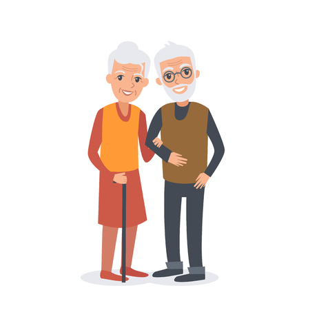 couple together: Old man and woman stand together arm-in-arm and smiling. Senior couple. Elderly man and woman. Vector illustration isolated on white background.