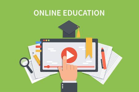 learning online: Online education concept banner. Vector flat illustration for web banner, infographics, hero images.