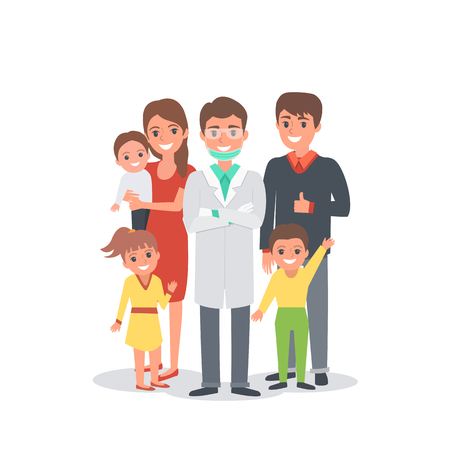 visit: Happy smiling family and dentist. Vector illustration isolated.