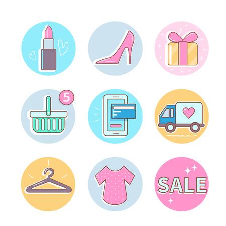 Fashion and shopping icons set. Vector icons. Illustration