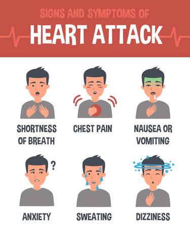 Ataque al corazón vector de infografía. síntomas de ataque cardíaco. elementos de Infografía. Foto de archivo - 60870374