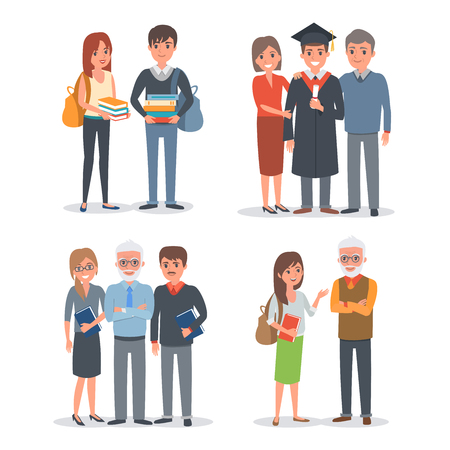 college student: People characters collection: sudents, teachers, parents. Vector illustration.