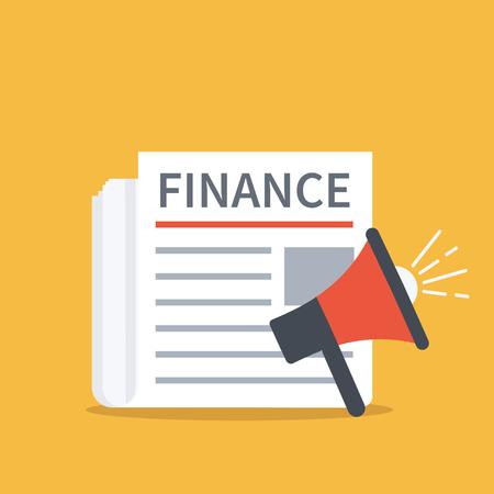 publicist: Finance newspaper concept. Vector illustration.