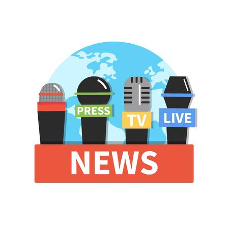 reportero: icono de noticias concepto con micrófonos. Ilustración del vector.