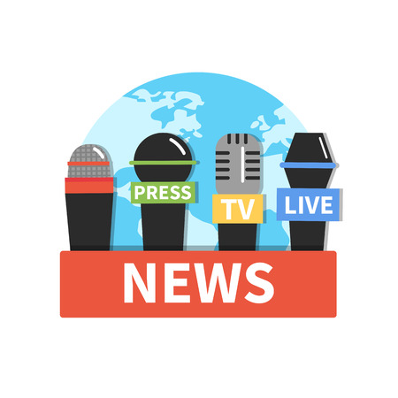 Concept news icon with microphones. Vector illustration.
