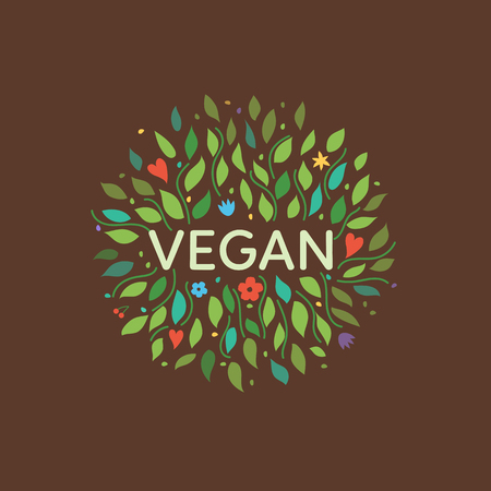 Vegan symbol with floral elements. Vector illustration. Vettoriali