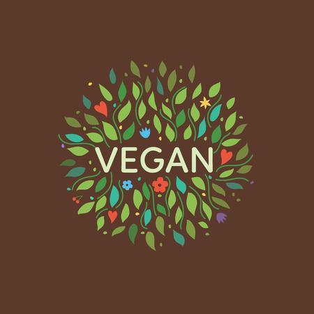 botany: Vegan symbol with floral elements. Vector illustration. Illustration