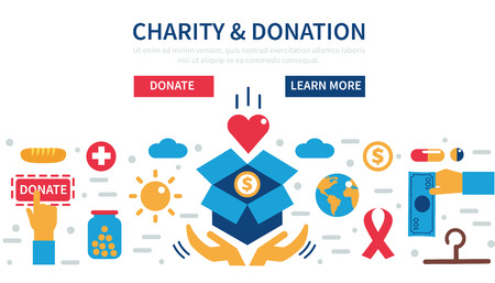 Donation concept illustrations. Concept for web banners, websites, infographics.