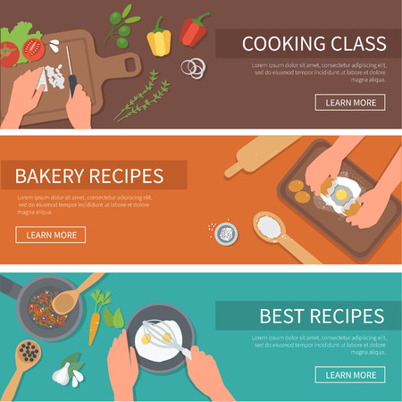 cooking book: cooking web banners set. Cooking class, bakery, recipes.