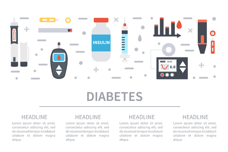 pen icon: diabetes web banner on white background. Diabetes equipment icons set with text place.
