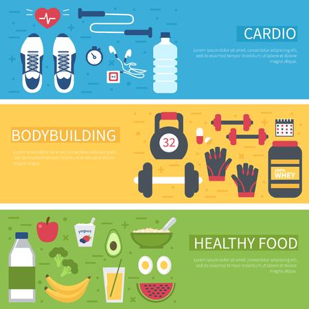 fitness banner design. Bodybuilding, cardio, water, healthy food - concept set. Infogaphic elements.