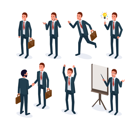 Isometric business man in different poses.