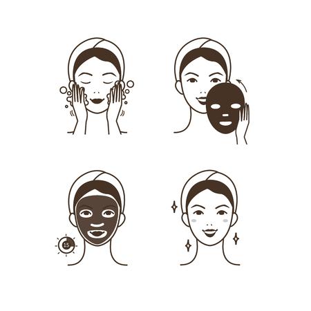 Stappen hoe gezichtsmasker toepassen. Stock Illustratie