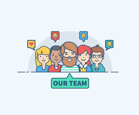 Dunne lijn platte ontwerp van ons team. Kan gebruikt worden voor de website, mobiele website banners. Stockfoto - 62268296