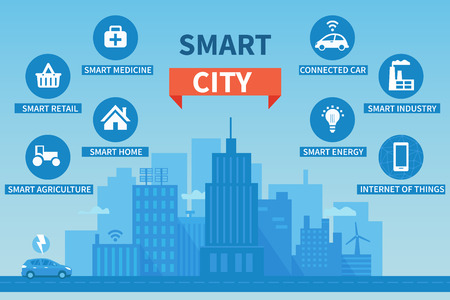 Smart city concept illustration with icons. Concept of Internet of things and another future technologies for living.
