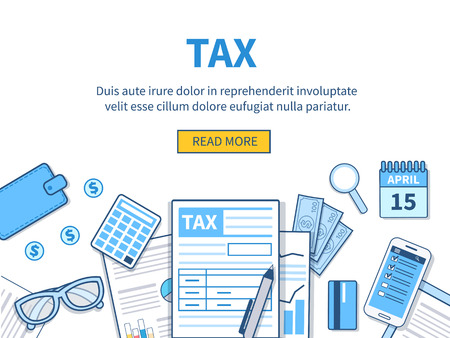budget: Concept for tax calculation. Business elements set.