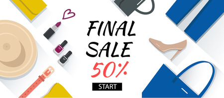fashion shopping: Shopping fashion banner with clothing, accessories and shoes. Vector concept illustration. Illustration