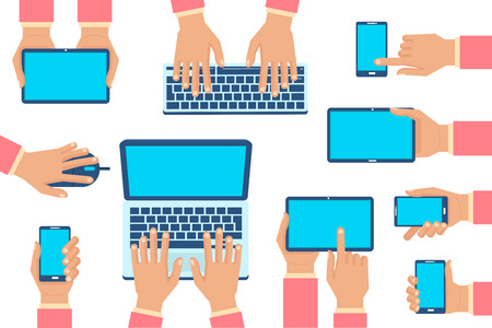 keyboard and mouse: Set of isolated hands with gadgets - smartphone, tablet, laptop, keyboard, mouse. Infographic elements collection. Vector illustration.
