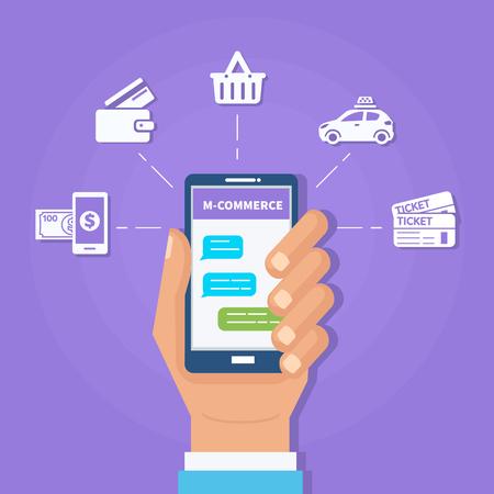 monetize: M-commerce concept banner. Contextual advertising through mobile messenger. Vector illustration.