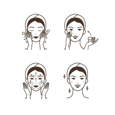 Stappen voor het aanbrengen van gezichtscrème. Vector geïsoleerde illustraties instellen. Stockfoto - 63810264