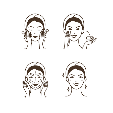 exfoliation: Steps how to apply facial cream. Vector isolated illustrations set.