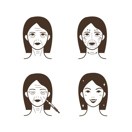 wrinkled face: Woman face before and after facelift. Vector illustration.