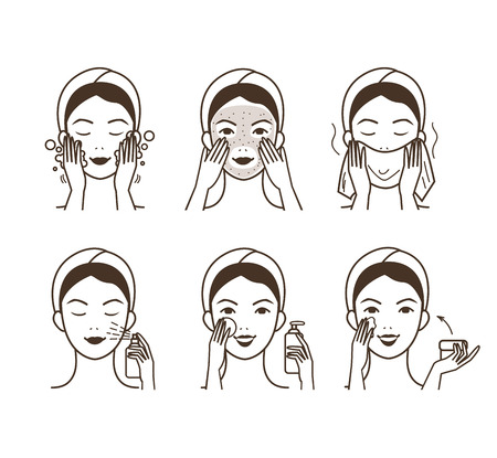 cleansing: Girl cares about her face. Different facial care procedures. Vector illustration.