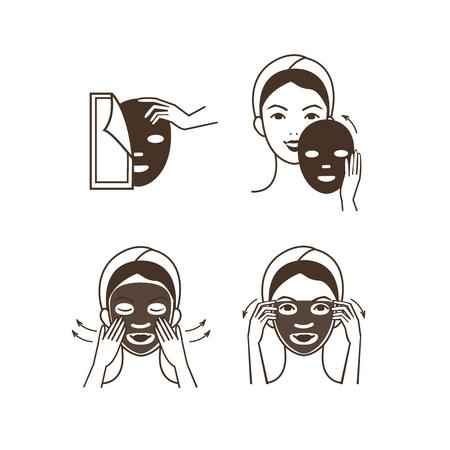 plech: Kroky, jak aplikovat masku na obličej. Vektorové izolované ilustrace sada.