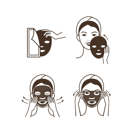 exfoliation: Steps how to apply facial mask. Vector isolated illustrations set.