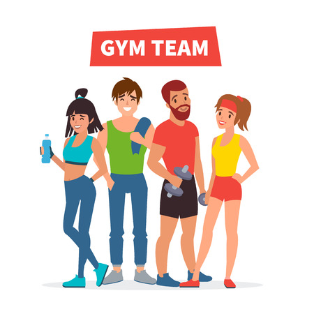aerobics class: Group of young fit people.  Gym team. Vector illustration. Illustration