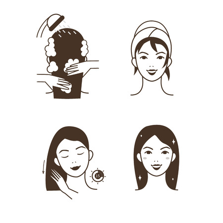 Woman take care about her hair. Steps how to apply hair mask.  Vector isolated illustrations set.  イラスト・ベクター素材